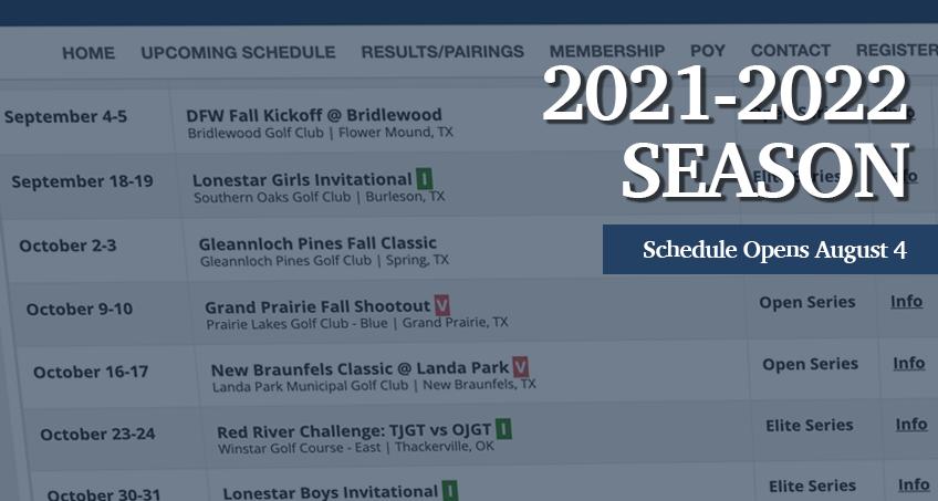2021-2022 Fall Season Schedule Released